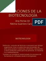 APLICACIONES DE LA BIOTECNOLOGÍA