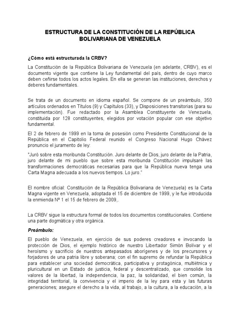 Estructura De La Constitución De La República Bolivariana De