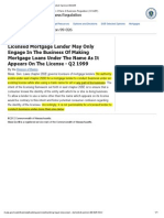 MA OCR- Mortgage Lending in Licensed Name Only-Summary of Selected Opinion 99-026