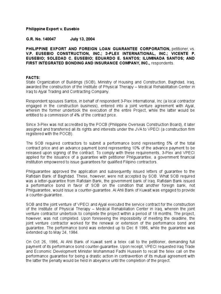 Philippine export v eusebio surety bond guarantee altavistaventures Choice Image