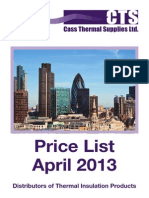 Cass Thermal Supplies Pricelist