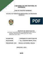 Gestion y Politicas Para El Planeamiento Del Uso de Agua de Riego en La Cuenca Del Rio Cachi