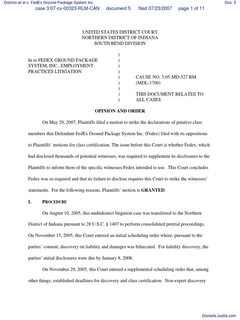 Dizinno et al v. FedEx Ground Package System Inc - Document No. 5 ...