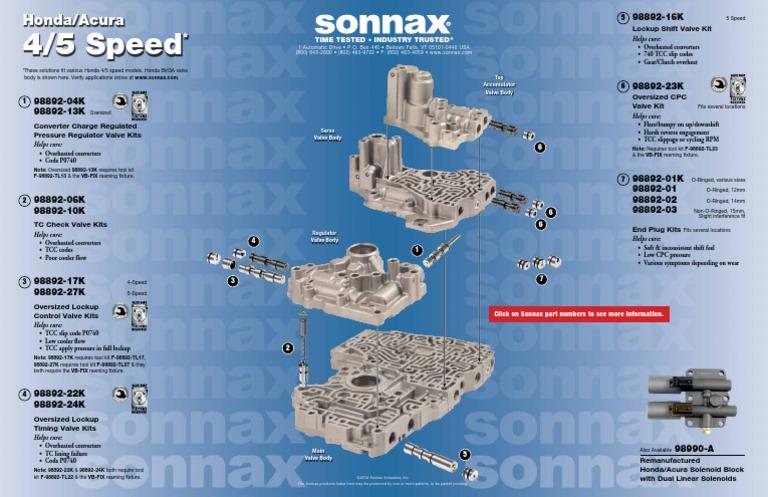 .for Honda Automatic Transmission 98892-01K Valve Body O-ringed End Plug Kit