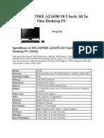 Spek Acer Aspire Az1650 18