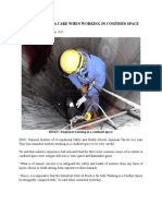 Take Extra Care When Working in Confined Space