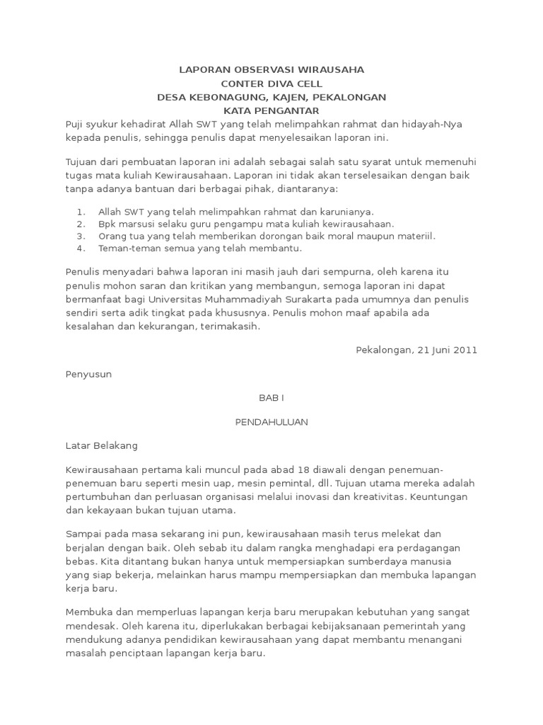 Contoh Laporan Observasi Wirausaha