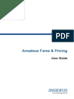 Amadeus Fares & Pricing: User Guide