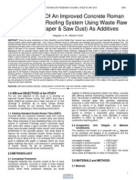 Development of an Improved Concrete Roman Tile Alternative Roofing System Using Waste Raw Materials Paper Saw Dust as Additives