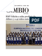 27-07-2015 Diario Matutino Cambio de Puebla - RMV Felicita a Niña Prodigio de Atlixco y a 42 Niños Más