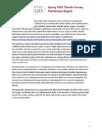 Climate Survey Spring 2015 Preliminary Report