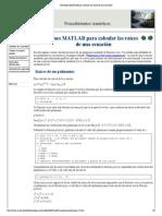 Funciones MATLAB Para Calcular Las Raíces de Una Ecuación