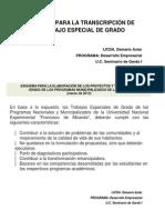 Manual Para La Transcripción de Trabajo Especial de Grado