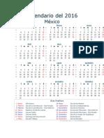 Calendario Del 2016