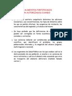 LOS ALIMENTOS FORTIFICADOSSON AUTORIZADOS CUANDO