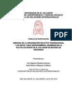 Amenaza de La Organización Delictiva Transnacional Los Zetas