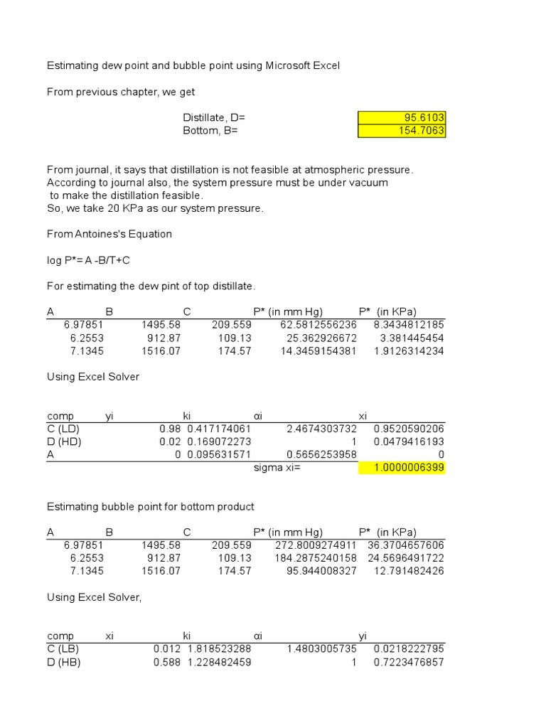Bubble point calculation pdf to excel