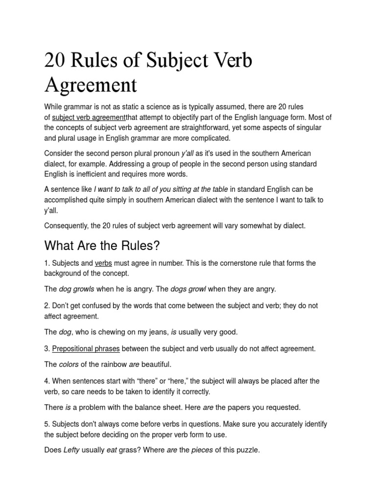 20 Rules Of Subject Verb Agreement Grammatical Number Verb