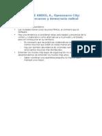 MENÉNDEZ de ANDES, A., Opensource City; Acceso a Los Recursos y Democracia Radical