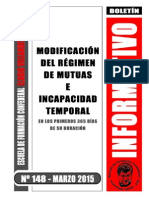 Modificacion Regimen Mutuas e Incapacidad Temporal