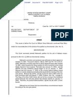 Mahood v. Secretary, DOC et al - Document No. 6