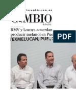 28-07-2015 Diario Matutino Cambio de Puebla - RMV y Lozoya Acuerdan Producir Metanol en Puebla