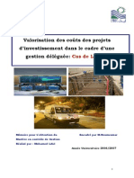 Valorisation Des Coûts Des Projets d'Investissement Dans Le Cadre d'Une Gestion Déléguée Cas de LYDEC
