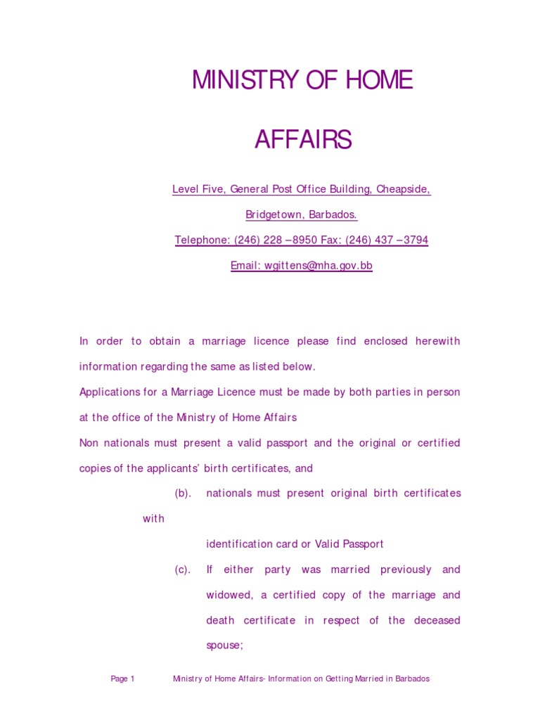 barbados ministry of home affairs - marriage requirements | Marriage