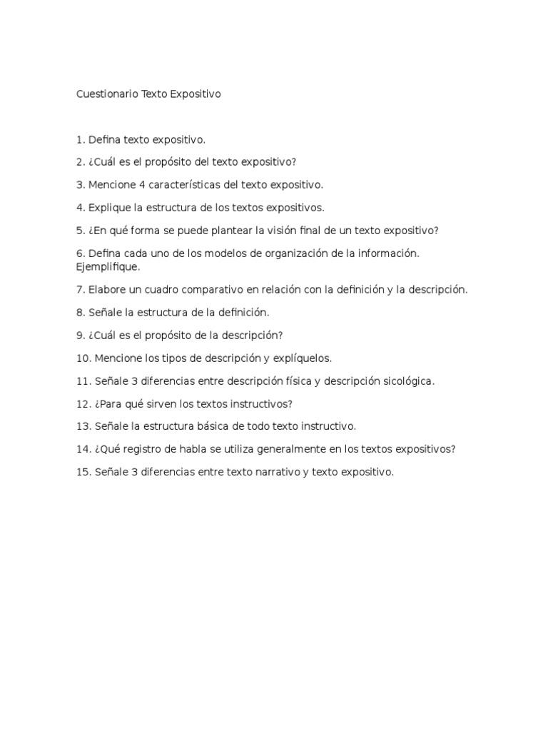 Cuestionario Texto Expositivo