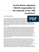 How Far Was the Russo Japanese War of 1904-05 Responsible for the Outbreak of the 1905 Revolution