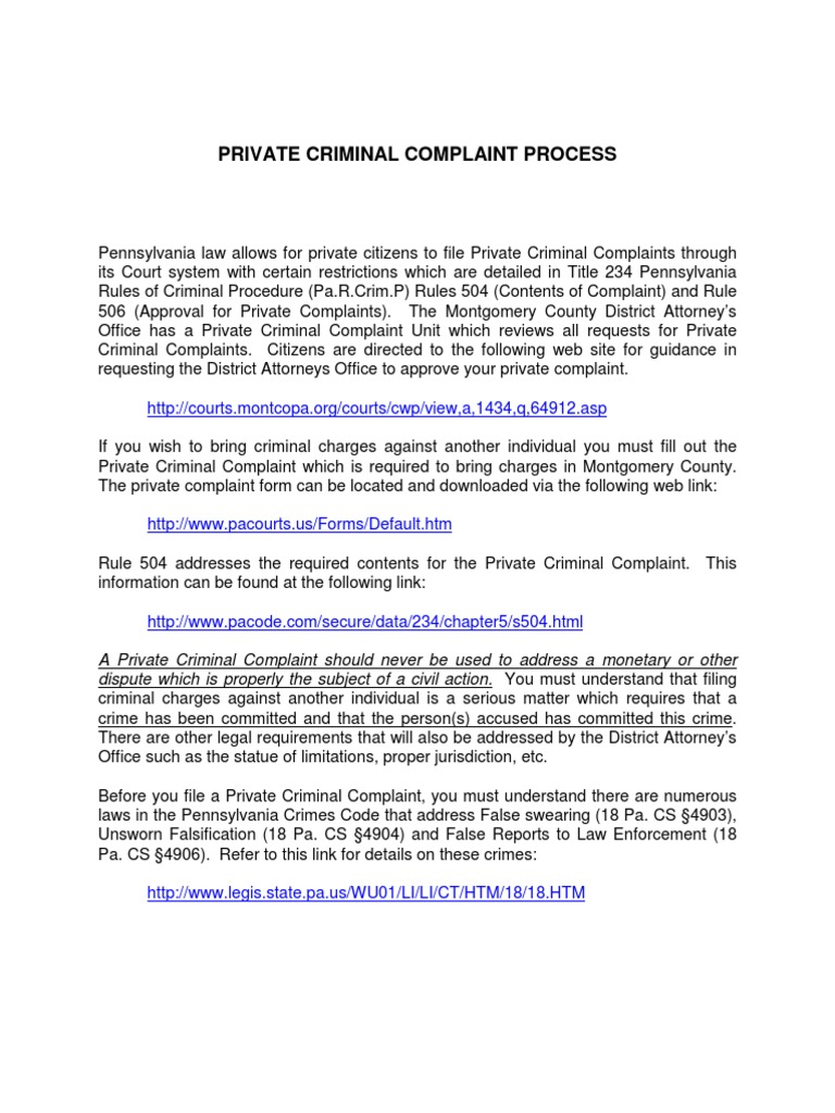 Private complaint