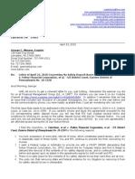 Letter to George Werner of Barley Snyder, LLC Re Safety Deposit Boxes of April 23, 2010
