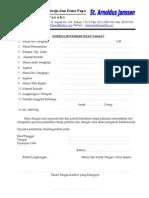 Form Pendaftaran Katekumen Tahap I