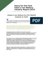 Li-ion Battery for EVs Fast News