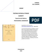 Eurofit Provisional Handbook Leger Beep Test 1983