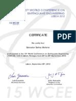 15WCEE 2012 Certificate