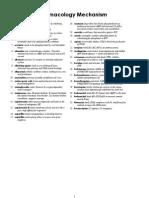 Pharmacology Mechanisms - Terms List