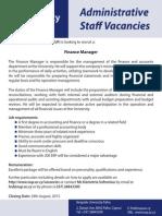Administration Staff Vacancies New