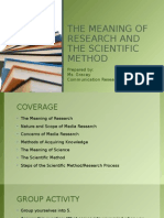 The Meaning of Research and the Scientific Method