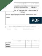 procedimiento para clasificaciony transporte de perfiles