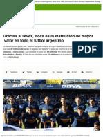 Gracias a Tevez, Boca Es La Institución de Mayor Valor en Todo El Fútbol Argent