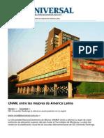 UNAM, Entre Las Mejores de América Latina