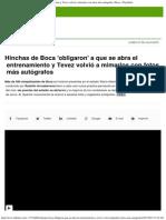 Hinchas de Boca Obligaron a Que Se Abra El Entrenamiento y Tevez Volvió a Mimar