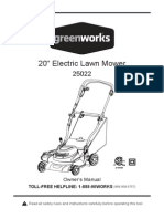 GreenWorks 25022 12 Amp Corded 20-Inch Electric Lawn Mower - Owner's Manual
