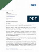 Lettre de la Fifa au comité de normalisation de la Fecafoot