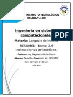 2.9 Instrucciones Aritmeticas RESUMEN