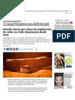 Gustavo Lagos, 2015-07-22, Ent - La Tercera - Ritmo de Explotación de Cobre Disminuirá Desde 2025