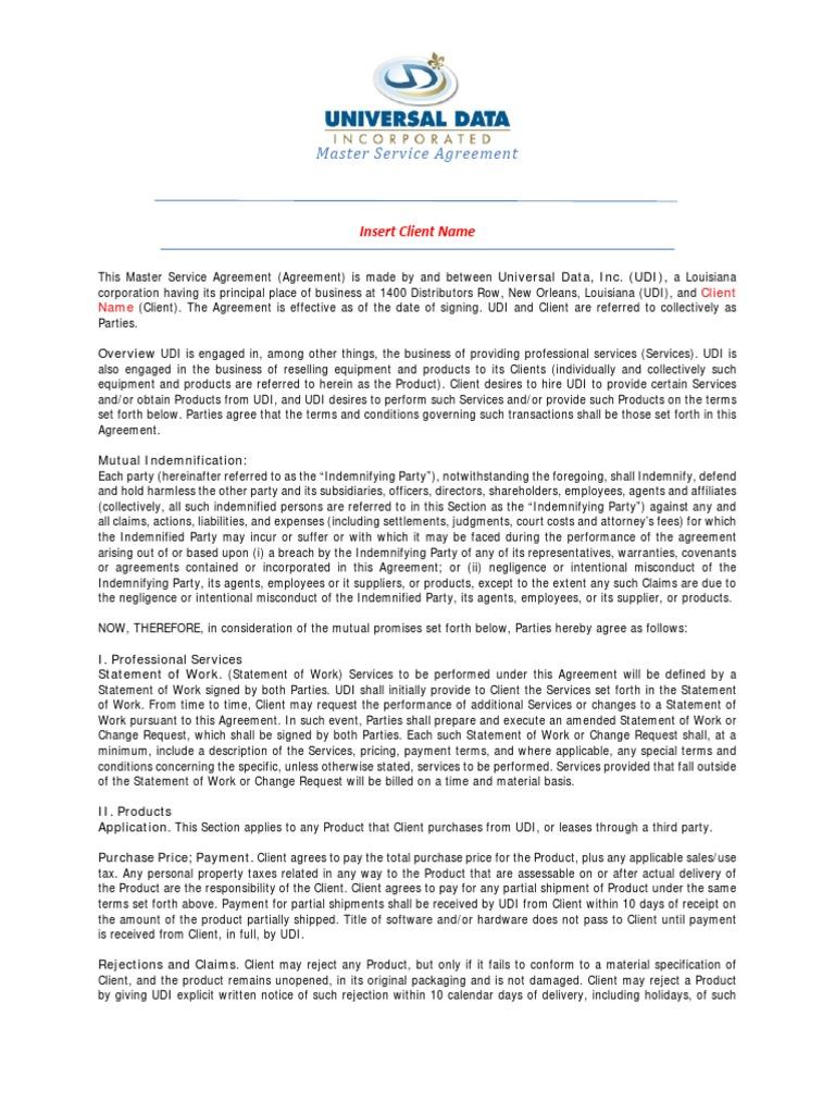 Udi Master Service Agreementpdf Mediation Indemnity