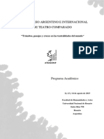 PROGRAMA Académico VII Congreso Argentino e Internacional de Teatro Comparado Agosto 2015 UNR