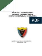 Propuesta de La Ingenieria Nacional Para Mejorar La Contratacion en Colombia